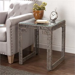 Southern Enterprises Akola Woven Glass Top End Table in Gray