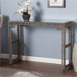 Southern Enterprises Akola Woven Glass Top Console Table in Gray