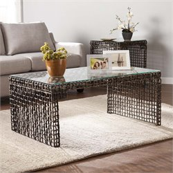 Southern Enterprises Loni Woven Glass Top Coffee Table in Dark Brown