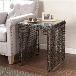 Southern Enterprises Loni Woven Square Glass Top End Table in Brown