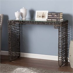 Southern Enterprises Loni Woven Glass Top Console Table in Dark Brown