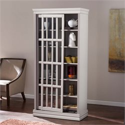 Southern Enterprises Mannheim Sliding Door Curio Cabinet in Warm Gray