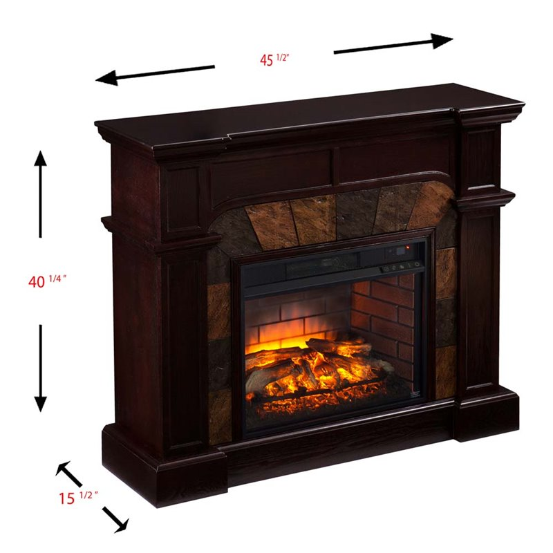 Southern Enterprises Cartwright Faux Stone Corner Fireplace In Brown Fi9287