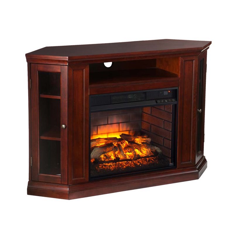Southern Enterprises Claremont Corner Fireplace Tv Stand In Cherry Fi9310