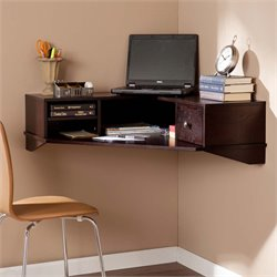 Southern Enterprises Rymark Corner Wall Mount Desk in Espresso