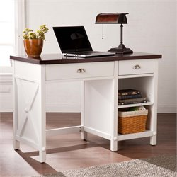 Southern Enterprises Amburg Farmhouse Computer Desk in White and Brown