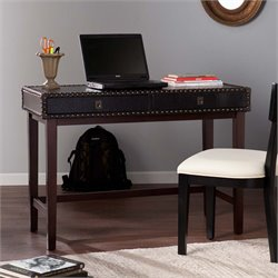 Southern Enterprises Rinaldi Faux Leather Writing Desk in Black