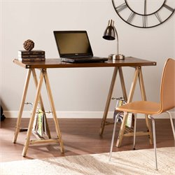 Southern Enterprises Downing Sawhorse Writing Desk in Weathered Oak