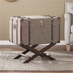 Southern Enterprises Devane Linen Trunk File Cabinet in Dark Beige