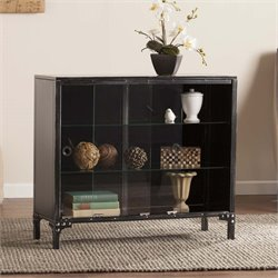 Southern Enterprises Dominick Curio Cabinet in Black and Silver