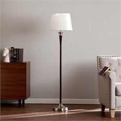 Southern Enterprises Clive Floor Lamp in Black and Satin Steel