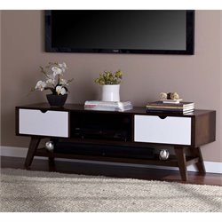 Southern Enterprises Dabney Mid Century TV Stand in White and Espresso