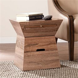 Southern Enterprises Dexter Geometric Accent End Table in Oak