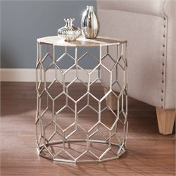 Southern Enterprises Clarissa Metal Accent End Table in Antique Silver