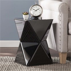 Southern Enterprises Justine Mirrored Accent End Table in Black
