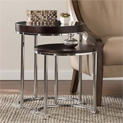 Southern Enterprises Lexie 2 Piece Nesting Table Set in Espresso