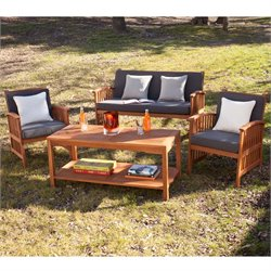 Catania Patio Sofa Set in Oiled Brown