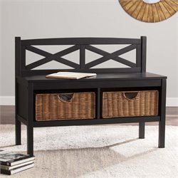 Southern Enterprises X-Back Bench with Storage Baskets in Black