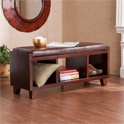 Southern Enterprises Capistrano Faux Leather Bench in Chocolate