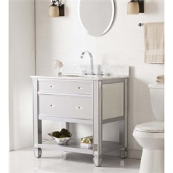Southern Enterprises Mirage Mirrored Single Marble Top Bathroom Vanity