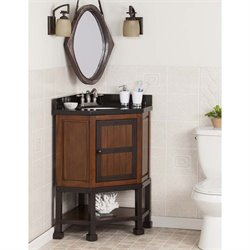 Southern Enterprises Emery Corner Single Granite Top Bathroom Vanity