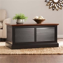 Southern Enterprises Abram Louvered Storage Coffee Table in Black