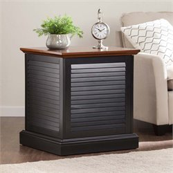 Southern Enterprises Abram Louvered Storage End Table in Black