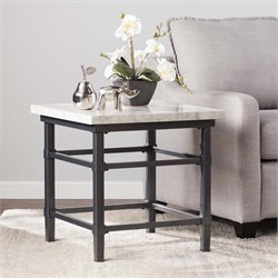 Southern Enterprises Tulane Faux Marble Top End Table in Black