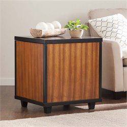 Southern Enterprises Ryecroft Storage Trunk End Table in Zebrawood