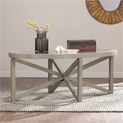 Southern Enterprises Brentwick Oval Glass Top Coffee Table in Gray