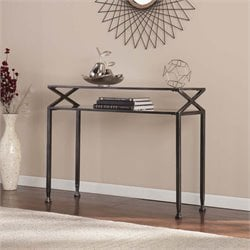Southern Enterprises Metal Glass Top Console Table in Black