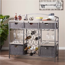 Southern Enterprises Javu Wine Rack Server in Gunmetal with 5 Baskets