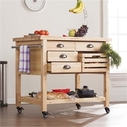 Southern Enterprises Aledo Kitchen Cart in Natural and Silver