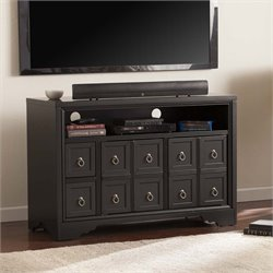 Southern Enterprises Rexland TV Stand in Black and Brushed Silver