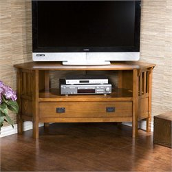 Southern Enterprises Carson Corner TV Stand in Dark Oak