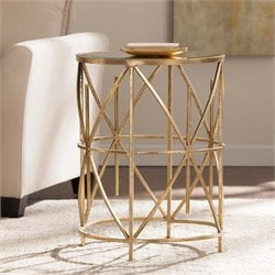 Southern Enterprises Starina Mirrored Top Accent Table in Antique Gold