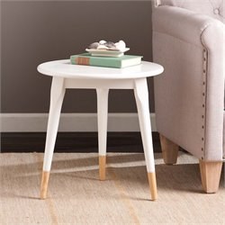 Southern Enterprises Alden Round Side Table in Glossy White