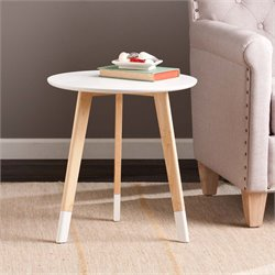 Southern Enterprises Neelan Round Side Accent Table in Glossy White