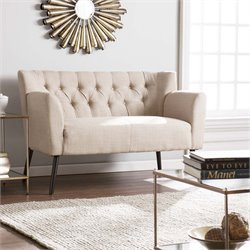 Southern Enterprises Byers Tufted Loveseat in Beige