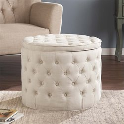 Southern Enterprises Baronne Round Tufted Storage Ottoman in Ivory