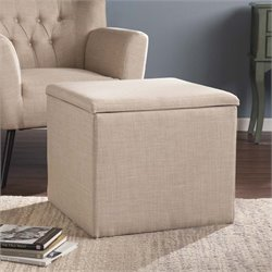 Southern Enterprises Backman Square Storage Ottoman in Warm Sand