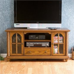 Southern Enterprises Highbanks Media Stand in Antique Oak