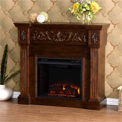 Calvert Carved Electric Fireplace in Espresso