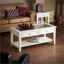 Southern Enterprises Panorama Glass Top Coffee Table in Off White