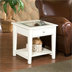 Southern Enterprises Valley End Table in White