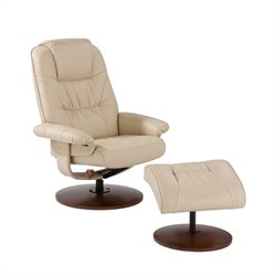 Southern Enterprises Parrish Leather Recliner Chair and Ottoman in Taupe