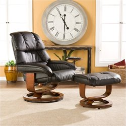 Canyon Lake Leather Recliner and Ottoman