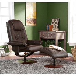 Southern Enterprises Recliner and Ottoman in Brown