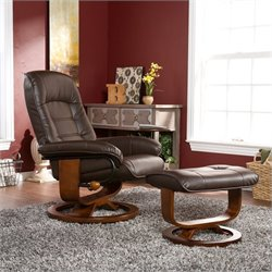 Hemphill Leather Recliner and Ottoman