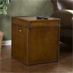 Southern Enterprises Bristol Trunk End Table in Walnut